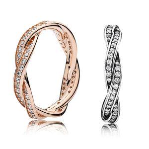 925 Sterling Silver Twist Of Fate Stackable Ring Set Original Box for Pandora Women Wedding CZ Diamond 18K Rose Gold Ring