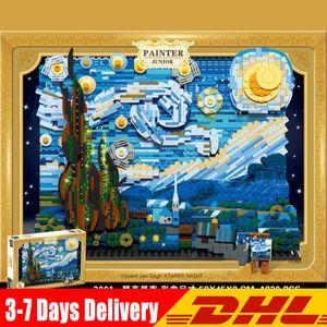 3001 Pixel Art Mosaic Painting Set DIY Starry Van Gogh Pixel Painting World Masterpiece Building Block Gift Decorative Painting J1204