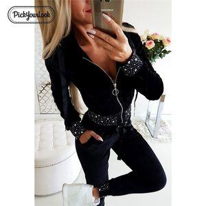 Pickyourlook Kadın Giyim Seti Uzun Kollu Siyah Inci Sequins Fermuar Bayanlar Kıyafet Seti Sonbahar Kış Moda Kadın Giyim 201120