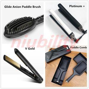 Glide Anion Paddle Fırça Platin + V Altın Saç Düzleştirici Klasik Profesyonel Styler Hızlı Saç Demir Saç Şekillendirici Aracı