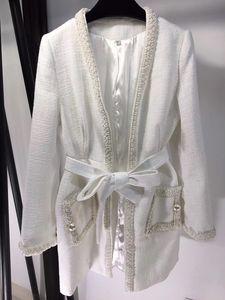 Autumn winter new v-neck tweed pearl inlaid elegant temperament mid-length jacket coat