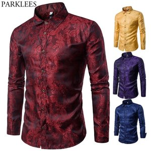 Мужская Silk Satin Dressing рубашка мода ласточка воротник с длинным рукавом рубашка мужчины ночной клуб вечеринка свадебная повседневная рубашка Chemise Homme Y200409