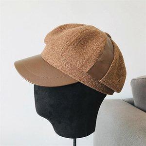 Retro herbst winter woolen baar frauen patchwork pu achteckige newsboy cap vintage painter künstler weibliche beret