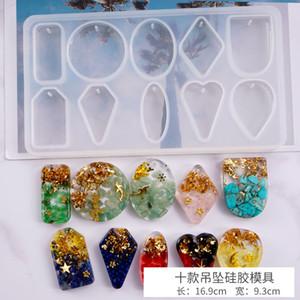 DIY EPOXY Résine Silicone Moules Drop Colle Crystal Multi Spécification Pendentifs conjoints Charm Moulin d'artisanat Outils Translucide 5 5ly m2