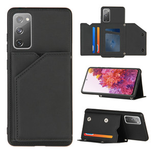 Skin Feeling PU Leather Stand Phone Case for Samsung Galaxy S20 FE Note20 A21S A31 A51 A71 A80 A90 Shockproof Card Slots Cover