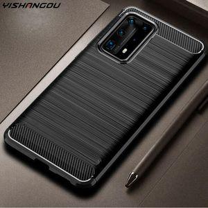 Carbone волокна силикона для Huawei P40 Pro P30 Lite Nova 6 SE 5T 5 5i честь V30 9x Pro P Smart Plus Y6 Y7 Pro Y9 Prime 2019