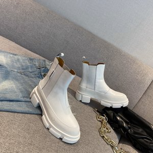 Women's Chunky Heels Work Tooling Fashion Brand Casual Martin Boots Western Genuine Leather Slip On Desert Ankle Boots Size 35-40
