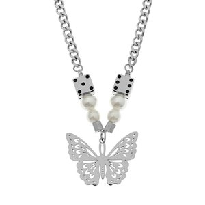 INS Street wear Stainless Steel Pendant Hollow Butterfly White Pearls Necklace Accessories Choker Chain