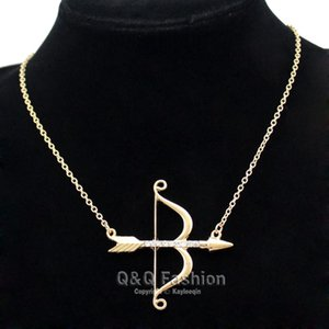 Vintage Gold Cupid Bow & Arrow Katniss Archery Charm Crystal Chain Necklace Jewelry New