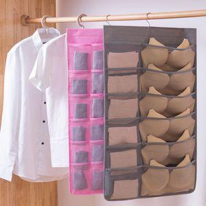 Women Underwear Socks Hanging Bag Double Sided Wardrobe Closet Bra Storage Non-woven Bag Home Clothes Organizer 12 18 24 Pockets RRA2697