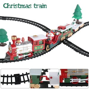 Child Christmas Rail Car Tracks Toys Xmas Gift Electric Railway Train Set Building Engine Cars Y1130