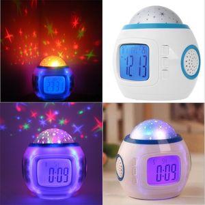 Música Starry Sky Digital Alarma Reloj de Digital Originalidad Reloj Azul Estrellas Estrellas Decoración de la decoración Lámpara de proyección Envío gratis 19xj F2