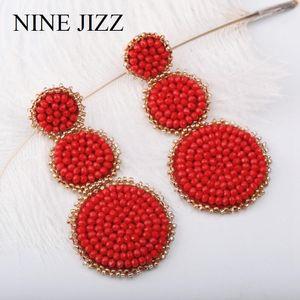 Ninjizz Crystal Bead Brincos Mulheres Trendy Beads Flor Borla Fringe Dangle Brincos Handmade Declaração Earring Atacado