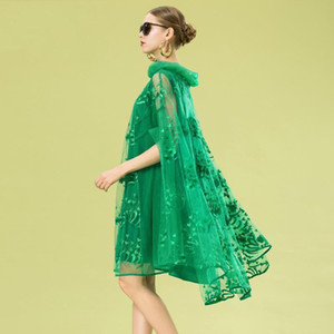 Large Size Cape Dress Women's Summer New Mesh Embroidered Shawl Party Dresses Fashion Vintage Cloak Sleeves Women Runway Dress