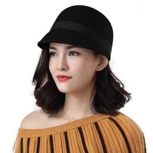 Fibonacci Duckbill Caballero ecuestre Fedoras Wool Fieltro Sombreros para mujer Cap Moda Black Fedora Hat1