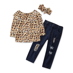 2021 Spring Autumn Kids Baby Girl Clothes Set Leopard Print Long Sleeve Off Shoulder shirt Tops + Denim Pants + headband Designer Clothing