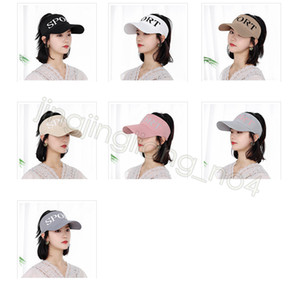 Ladies ponytail baseball cap visor summer letter hats outdoor women sports ponytail horse tail elastic cap CYF4553-4