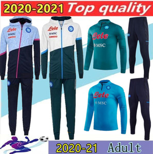 2020 Napoli Tracksuit Hamsik Insigne Callejon Zielinski 20/21 SSC Naples Long Long Zipper Jacket Set Taille de costume de football S-2XL