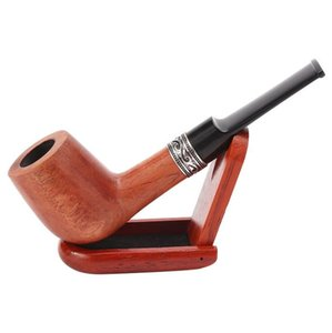 Straight black sandalwood and red sandalwood waxing pipe hot spot sale 9mm flue filter handmade solid wood pipe