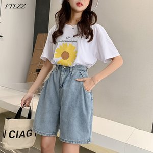 Ftlzz New Woman Wide Gambe a vita alta Ginocchio Blu Knee-Lenght Denim Casual Femminile Fit Fit Jeans Vintage Ladies Bermuda Shorts