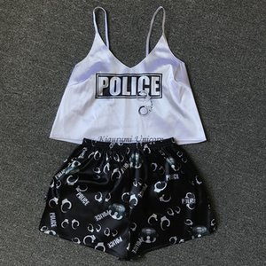 Police Print Pajama Sets Pattern Women Pajamas Strap Sleeveless Sexy Sleepwear Set Female Summer Night Wear Home Suit