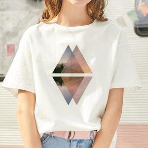 Plus Size New Geometric figure printed t shirt Women 90s Short Sleeve Summer TShirt Harajuku Fashion landscape T shirt