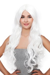 Fashion Long white wave Women's Hair Synthetic wigs High temperature Fibercosplay wig