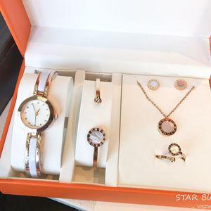 2021 المرأة الساعات الجديدة الأزياء والمجوهرات مجموعات أعلى خواتم قلادة سلة سيدة هدية ساعة اليد الكلاسيكية امرأة مجوهرات ريجالو دي موهير أورولوجيو
