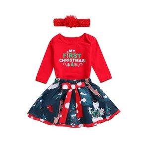 Hot Baby Girl Clothing Set Letter Red Top Christmas Newborn Baby Girl Romper Bodysuit+bowknot Skirt Dress Clothes Set 0-24 Months