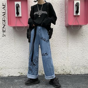 SHENGPALAE 2020 New Summer Casual Jeans Woman Long Trousers Cowboy Female Loose Streetwear Cartoon Print Wide Leg Pants ZA4911 A1112
