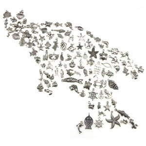 Charms 100PCS DIY Charm Handmade Crafts Silver Mini Ocean Dolphin Shell Pendant Bulk Lots Mixed Antique Jewelry Making1