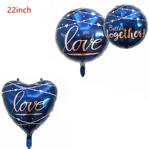 22Inch Schmuck Blaues Herz Runde Folie Ballons Liebe Ballon Geburtstagsfeier Hochzeitsdekorationen Helium Globos Valentinstag Geschenk