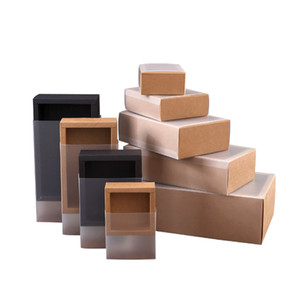 2020 Black Brown Kraft Paper Drawer Boxes with Frosted PVC Cover DIY Handmade Soap Craft Jewel Box Wedding Party Gift Packaging