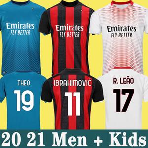 AC MILAN 20 21 Jersey de fútbol Ibrahimovic Paqueta Bennacer Tonali Romagnoli 2020 Camisa de fútbol Calhanoglu Rebic Men Kit Kit