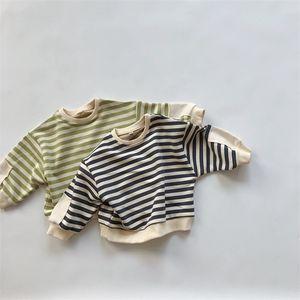 Korean Children's Clothing 2020 Winter New Children's Striped Sweatshirt Cotton Pullovers Top Tees Boys and Girls T Shirt 2-7Y Z1119
