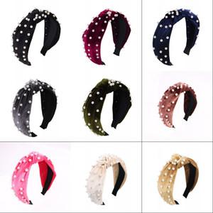 Düğüm Hairband Bantlar Kadınlar Inci Kadife Saç Kızlar Için Kafa Wrap Şapkalar Saç Aksesuarları Kadınlar Kadife Saç Sticks 358 J2