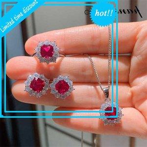 Pansysen Luxus Silber 925 Ruby Smaragd Diamant Schmuck Set Hochzeit Verlobungsring Ohrringe Ketten Sets Drop Shipping