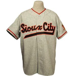 Sioux City Soos 1951 Road Jersey 100% Stitched Embroidery Logos Vintage Baseball Jerseys Custom Any Name Any Number Free Shipping