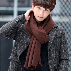 Luxury-LOVZON New Arrival Men Scarf Knit Spring Unisex Thick Warm Winter Scarves Long Size Male Cashmere Warmer Women's Scarves 2020