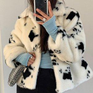 2020 Winter Fashion Winter Women Faux Fur Coats Furry Fur Black And White Cows Color Thick Jacket Coat Chic Top Y68