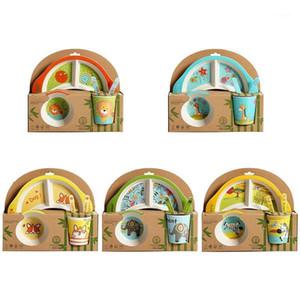 Sofra Takımı Setleri Bambu Elyaf Bebek Karikatür Yeme Sofra Çocuk Yemeği Tabak Toddler Besleme Yemekleri Çocuk Eğitim Kase Kaşık Çatal 5 adet / takım