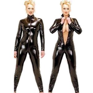 2021 Black Wetlook Kunstleder Langarm Offener Schritt PVC Catsuit mit Reißverschluss Sexy Dessous Latex Catsuit Fetisch Tragen Sexy Kostüme