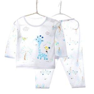 Marca Pijamas infantiles Sets Soft Bambo Fibra de manga larga Giraffe Animal Pijamas Boys Girls Ropa 2-10 Año V060 201028