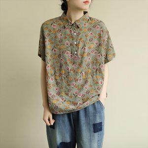 Johnature Women Print Flower Shirts Cotton Vintage 2020 New Spring Loose Women Shourt Sleeve 3 Colors Turn down Collar Tops