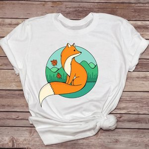 Women T shirts Cartoon Casual Clothing Spring Summer Fox Animal Womens Graphic T Top Ladies Print Lady Shirt Female Tee Shirt