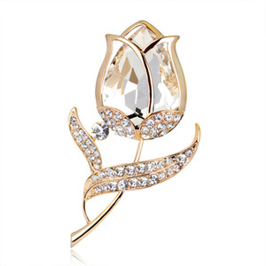 Fashion business suit brooches tulip brooch pins gold Diamond flower brooches dress for women fashion jewelry will and sandy new