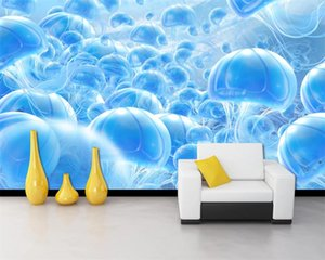 Fantasy Blue 3d Wallpaper Fantasy Underwater World Blue Jellyfish TV Sofa Background Wall Superior 3d Wallpaper