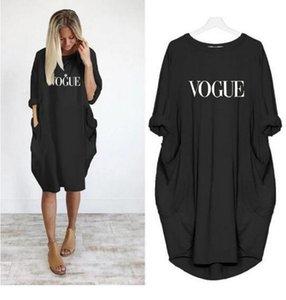 Letter Print Womens Casual Dresses Loose Big Pocket Womens Designer Dresses Fashion Long Sleeve Females
