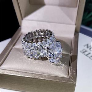 2021 Neue funkelnde heiße verkauf luxus schmuck paar ringe große oval geschnitten weiß topaz cz diamant edelsteine frauen hochzeit braut ring set geschenk
