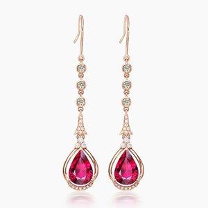 Luxus Ruby Edelsteine Rot Kristall Zirkon Diamanten Lange Baumarkt Tropfen Ohrringe für Frauen Rose Gold Ton Schmuck Bijoux Party Geschenke